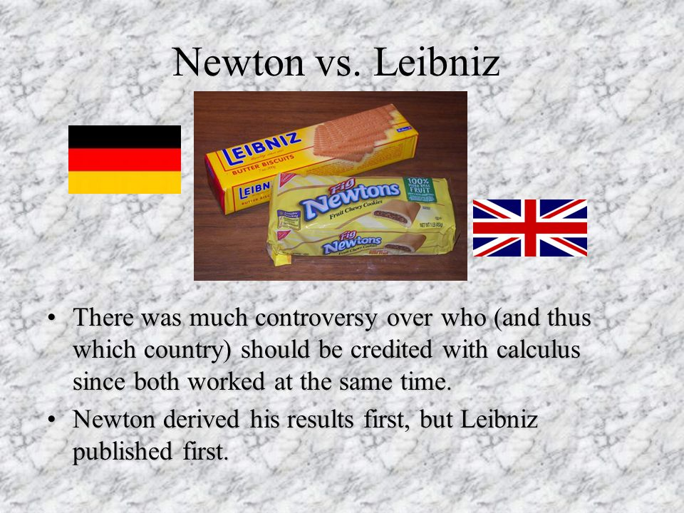 Newton vs. Leibniz There was much controversy over who (and thus which country) should be credited with calculus since both worked at the same time.