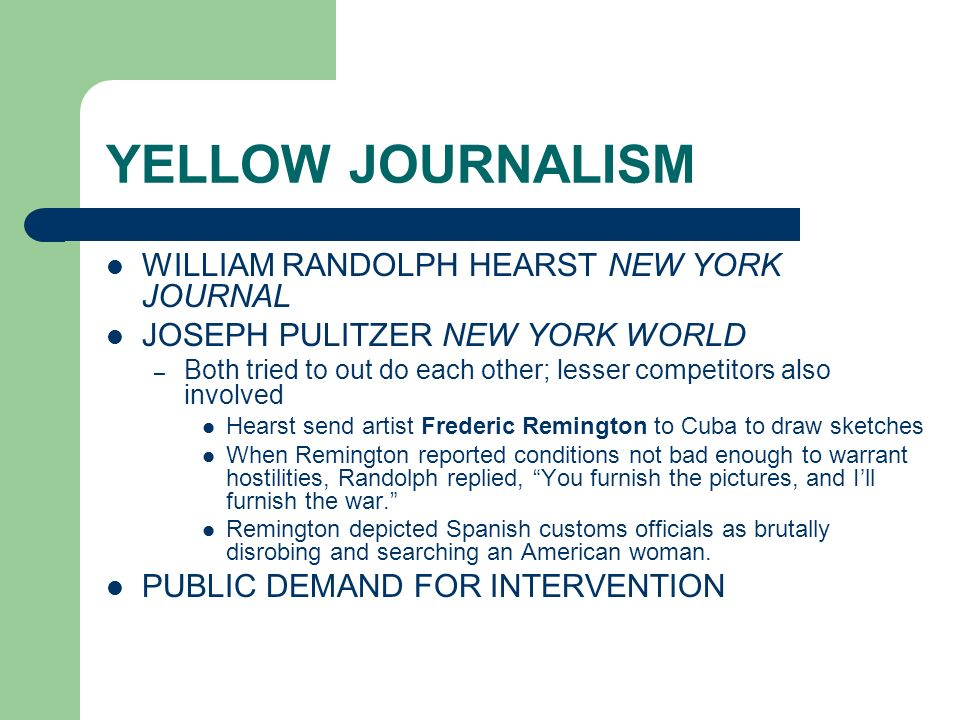 YELLOW JOURNALISM WILLIAM RANDOLPH HEARST NEW YORK JOURNAL