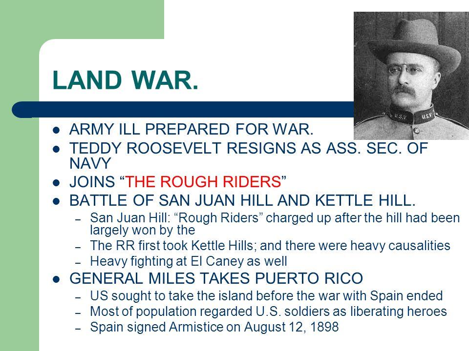 LAND WAR. ARMY ILL PREPARED FOR WAR.