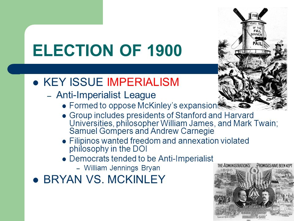ELECTION OF 1900 KEY ISSUE IMPERIALISM BRYAN VS. MCKINLEY
