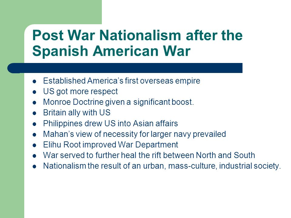 Post War Nationalism after the Spanish American War