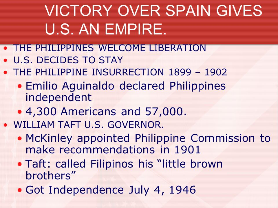 VICTORY OVER SPAIN GIVES U.S. AN EMPIRE.