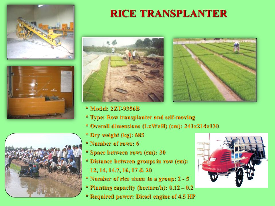 RICE TRANSPLANTER * Model: 2ZT-9356B