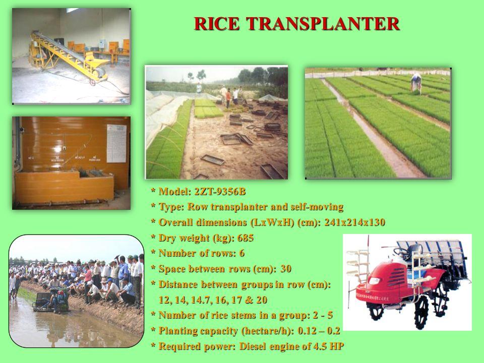 RICE TRANSPLANTER * Model: 2ZT-9356B