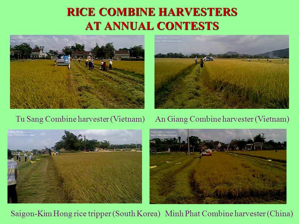 RICE COMBINE HARVESTERS AT ANNUAL CONTESTS