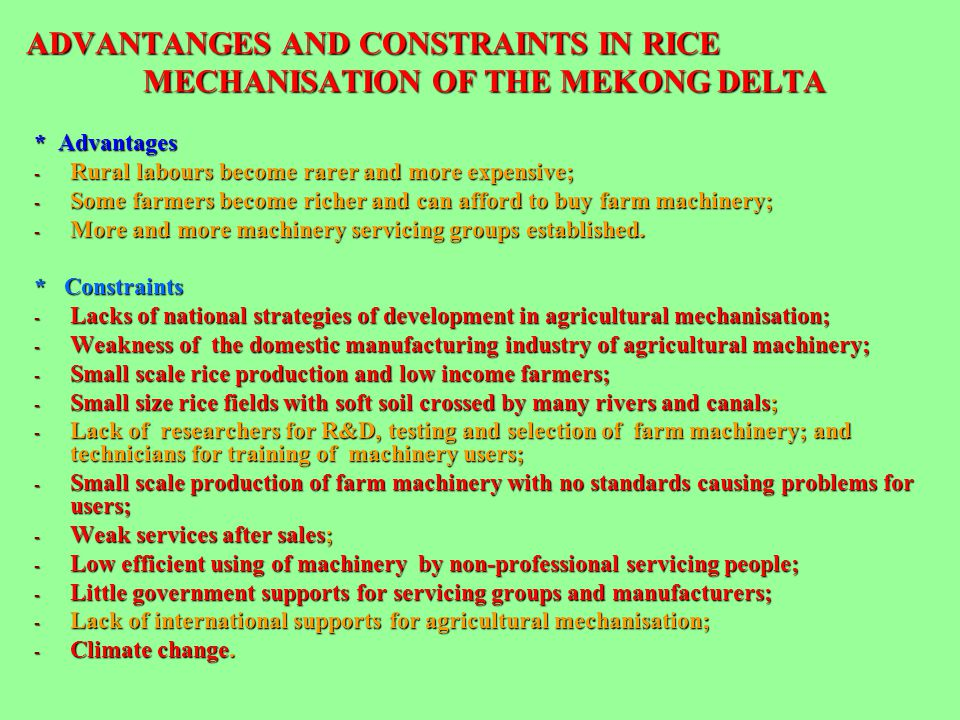 ADVANTANGES AND CONSTRAINTS IN RICE MECHANISATION OF THE MEKONG DELTA