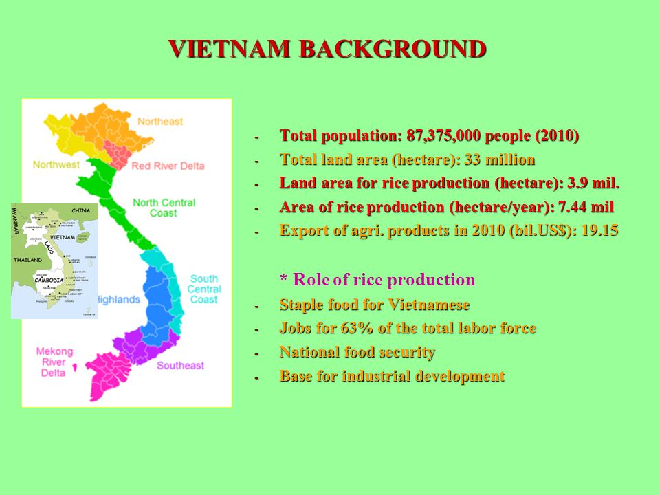 VIETNAM BACKGROUND Total population: 87,375,000 people (2010)