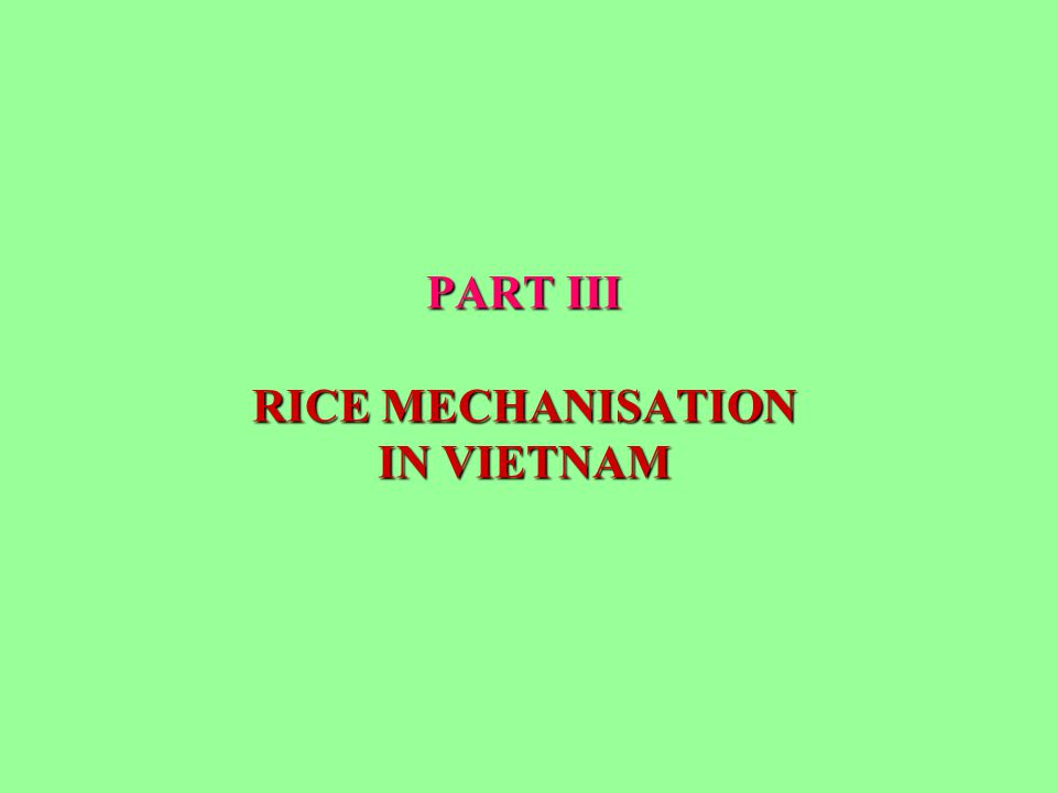 PART III RICE MECHANISATION IN VIETNAM