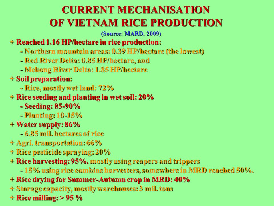 CURRENT MECHANISATION OF VIETNAM RICE PRODUCTION