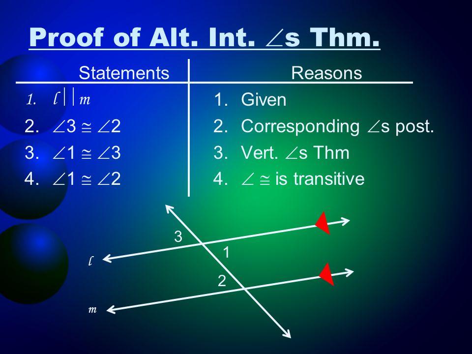 Proof of Alt. Int. s Thm. Statements l m 3  2 1  3 1  2