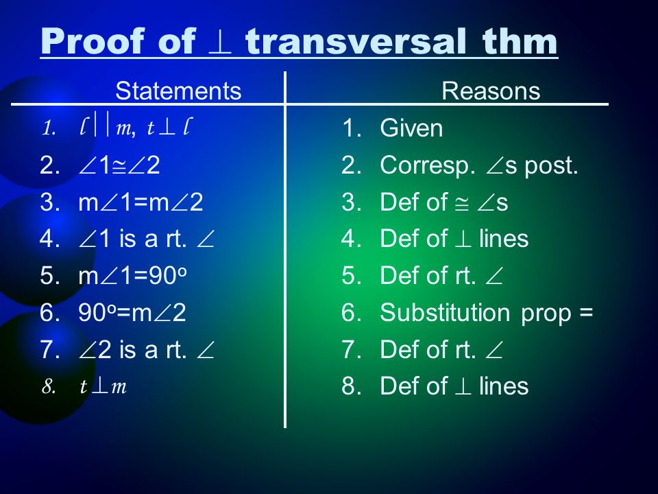 Proof of  transversal thm