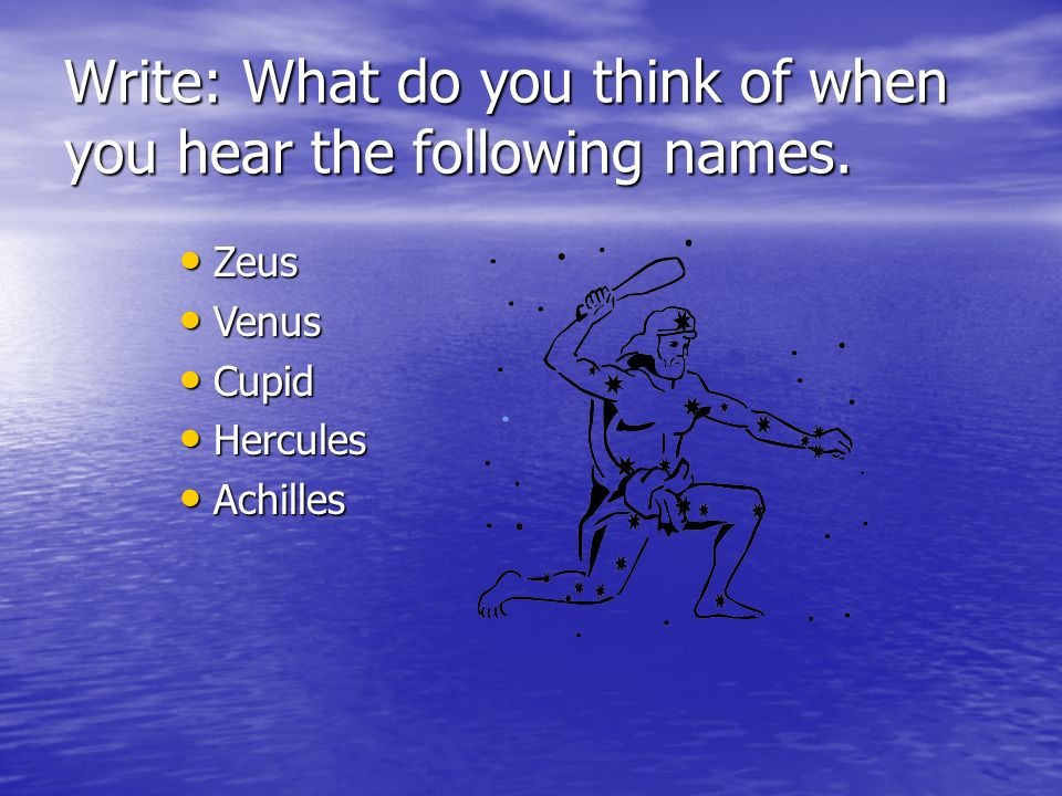 Write: What do you think of when you hear the following names.