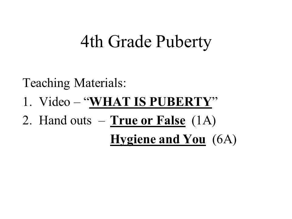 4th Grade Puberty Teaching Materials: Video – WHAT IS PUBERTY