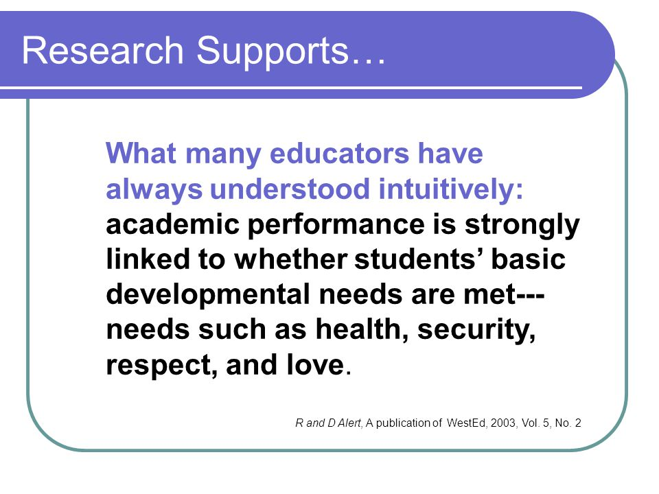 Research Supports…