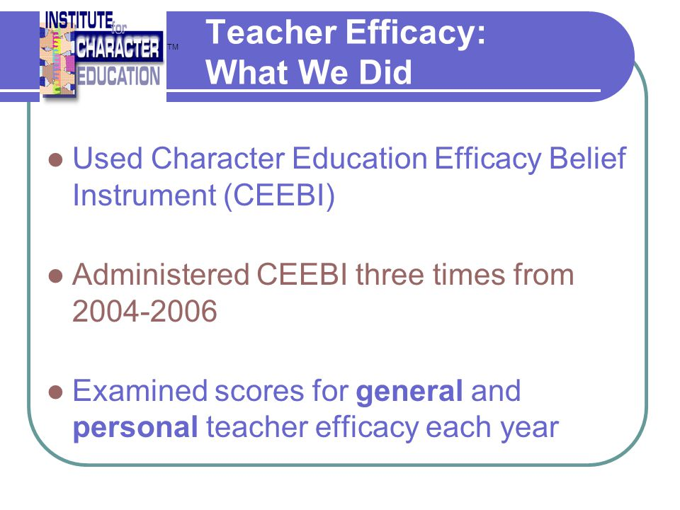 Teacher Efficacy: What We Did
