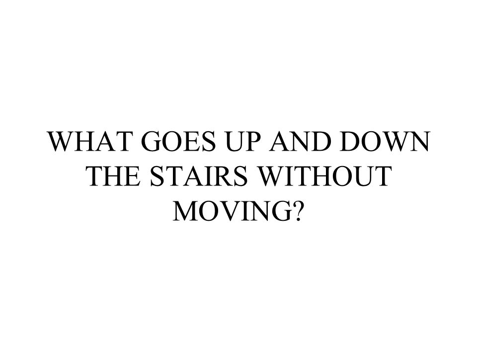 WHAT GOES UP AND DOWN THE STAIRS WITHOUT MOVING