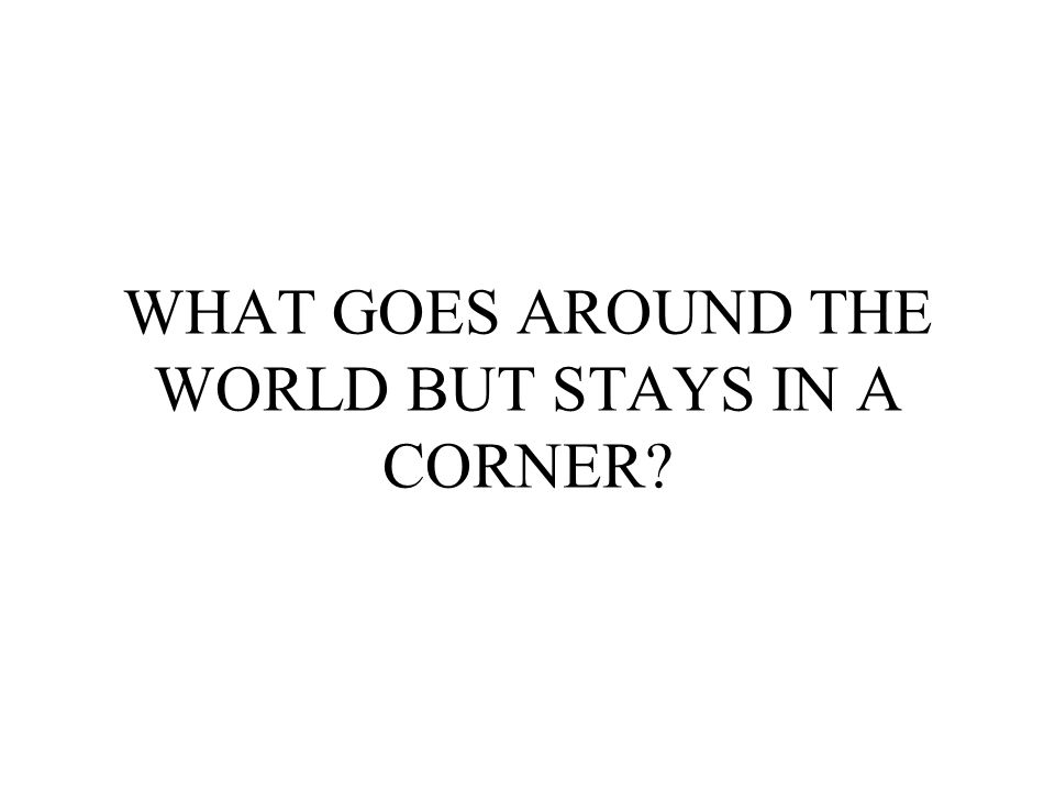 WHAT GOES AROUND THE WORLD BUT STAYS IN A CORNER