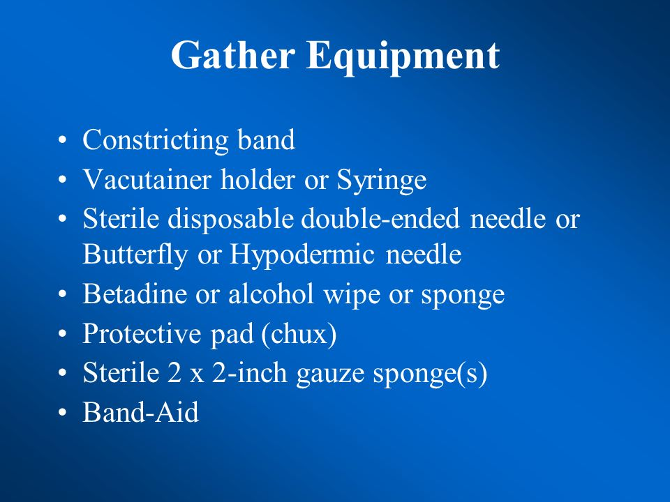 Gather Equipment Constricting band Vacutainer holder or Syringe