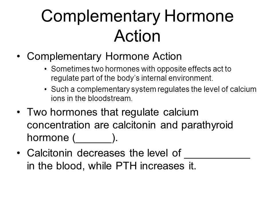 Complementary Hormone Action