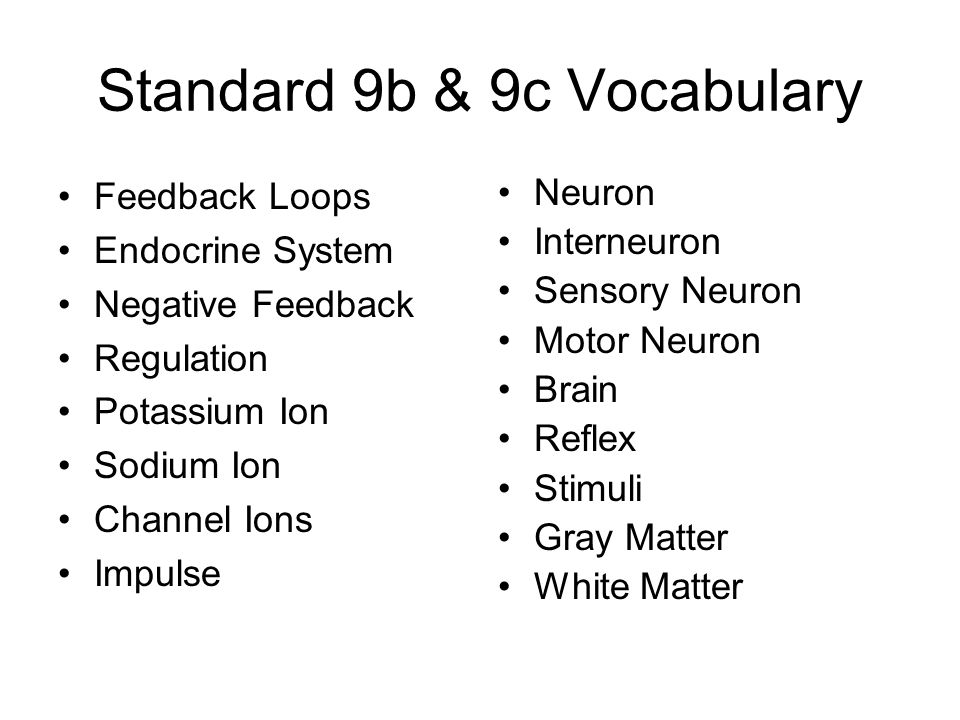 Standard 9b & 9c Vocabulary