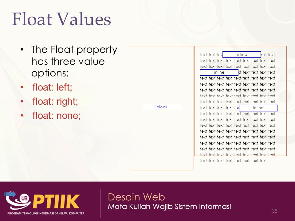 Float Values The Float property has three value options: float: left;