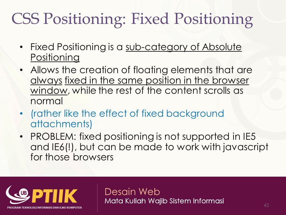 CSS Positioning: Fixed Positioning