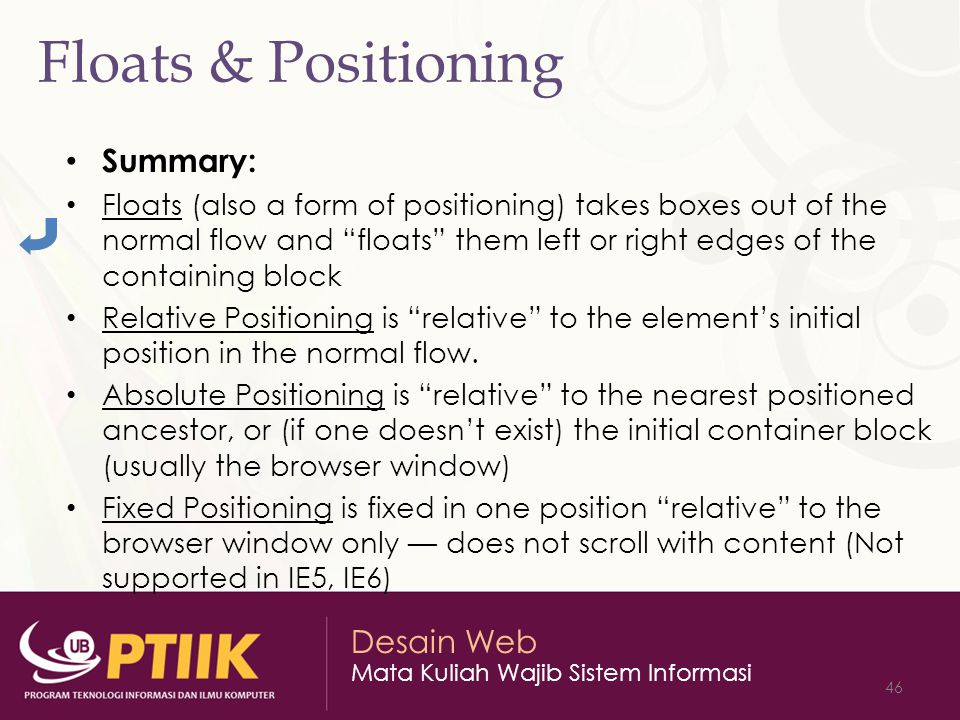 Floats & Positioning Summary: