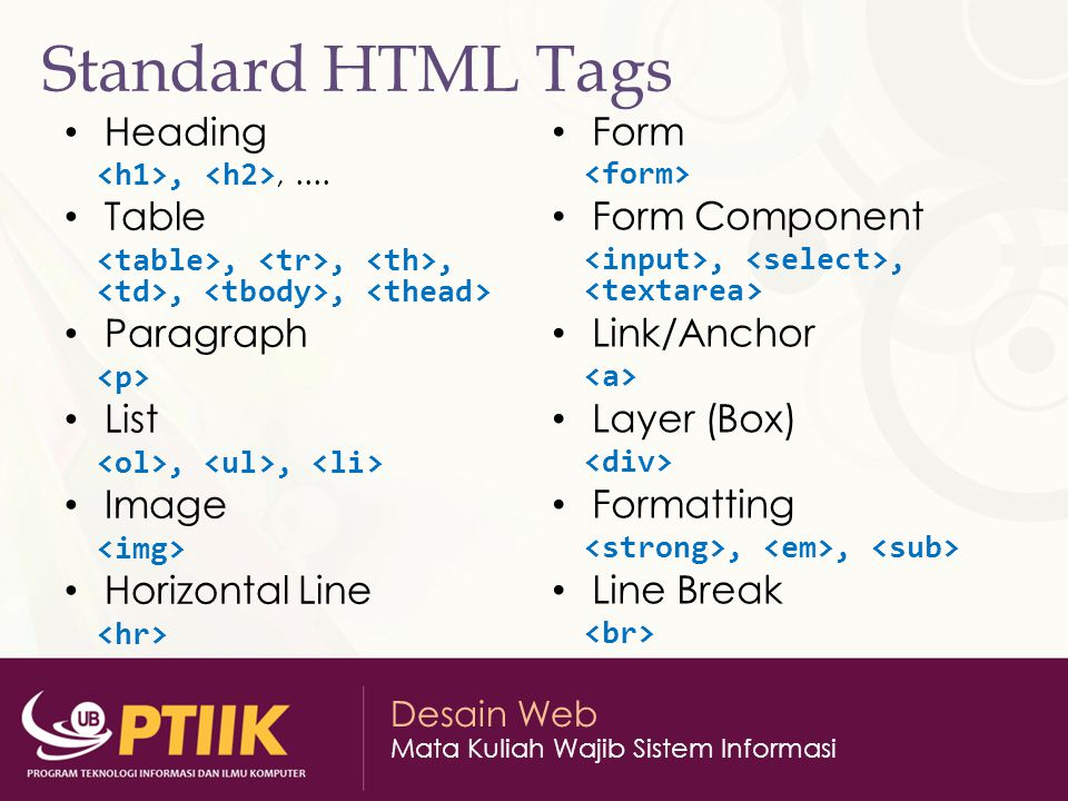 Standard HTML Tags Heading Table Paragraph List Image Horizontal Line