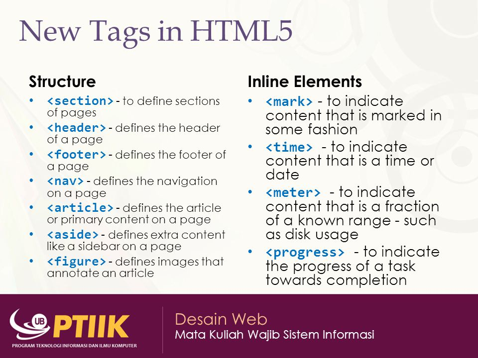 New Tags in HTML5 Structure Inline Elements
