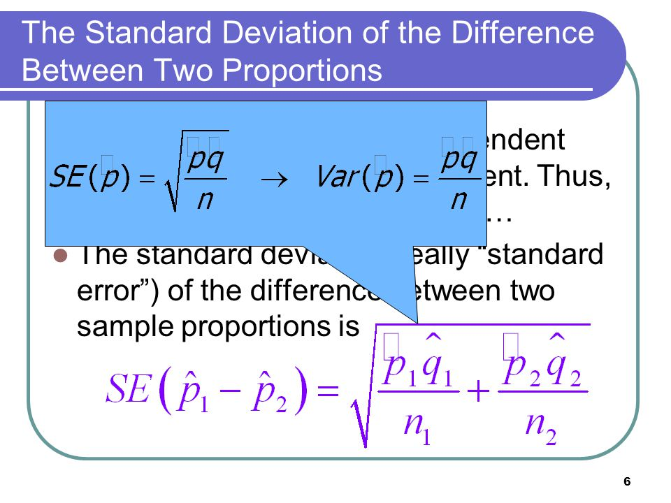 The Standard Deviation of the Difference Between Two Proportions