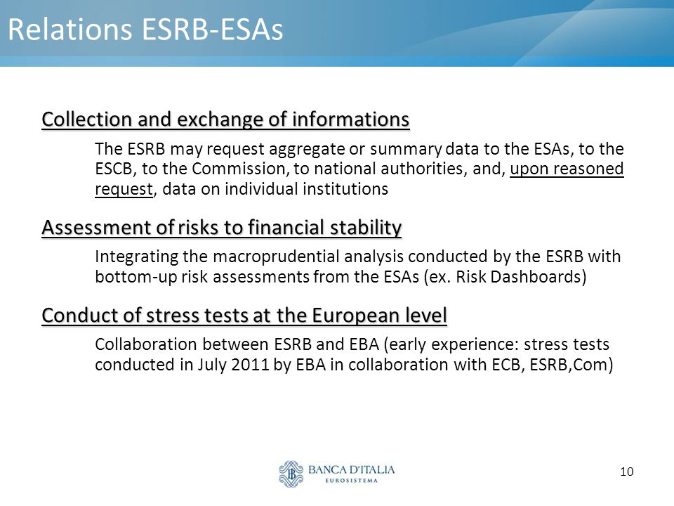 Relations ESRB-ESAs Collection and exchange of informations