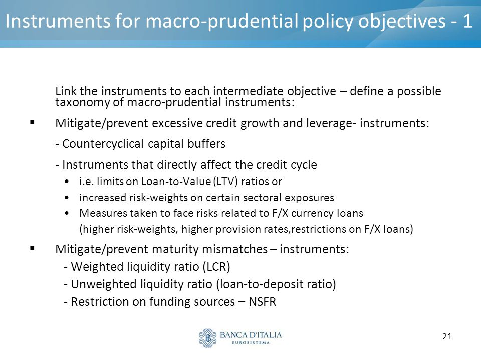 Instruments for macro-prudential policy objectives - 1