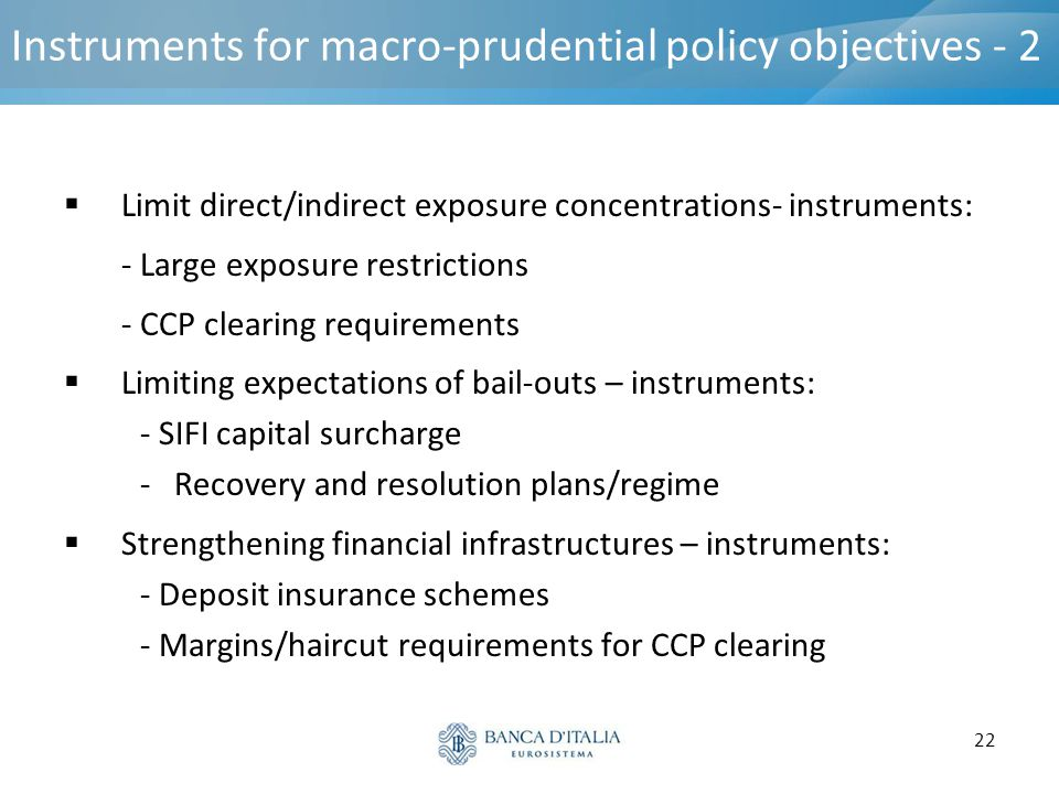 Instruments for macro-prudential policy objectives - 2