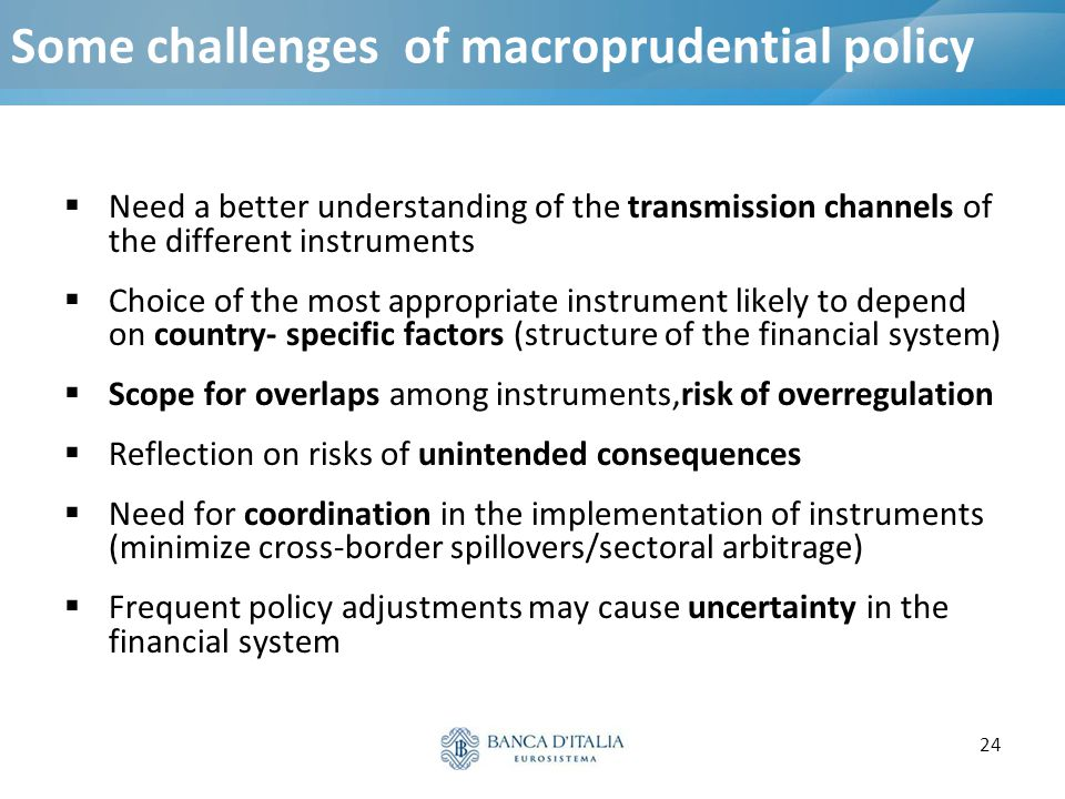 Some challenges of macroprudential policy