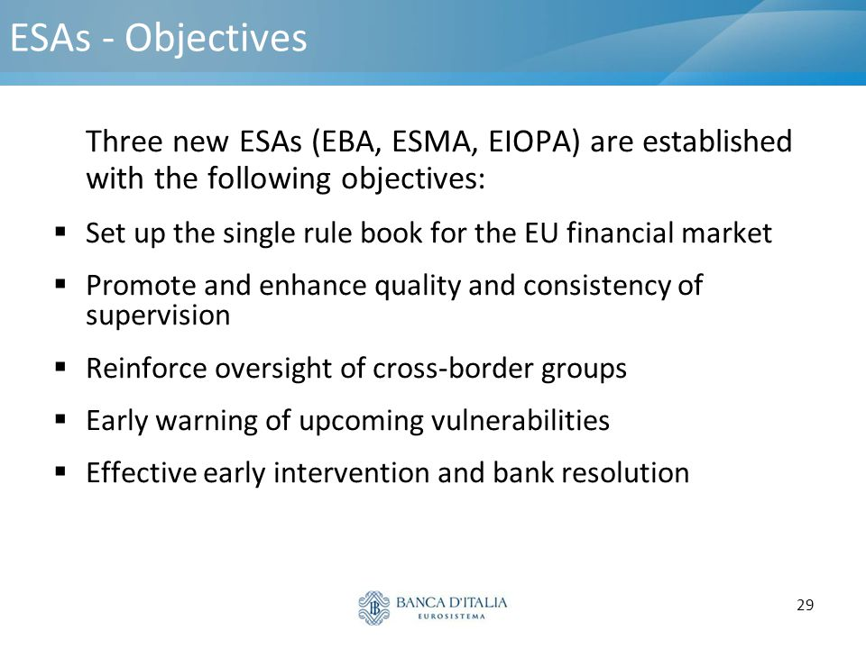 ESAs - Objectives Three new ESAs (EBA, ESMA, EIOPA) are established with the following objectives: