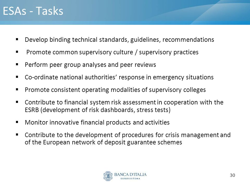 ESAs - Tasks Develop binding technical standards, guidelines, recommendations. Promote common supervisory culture / supervisory practices.