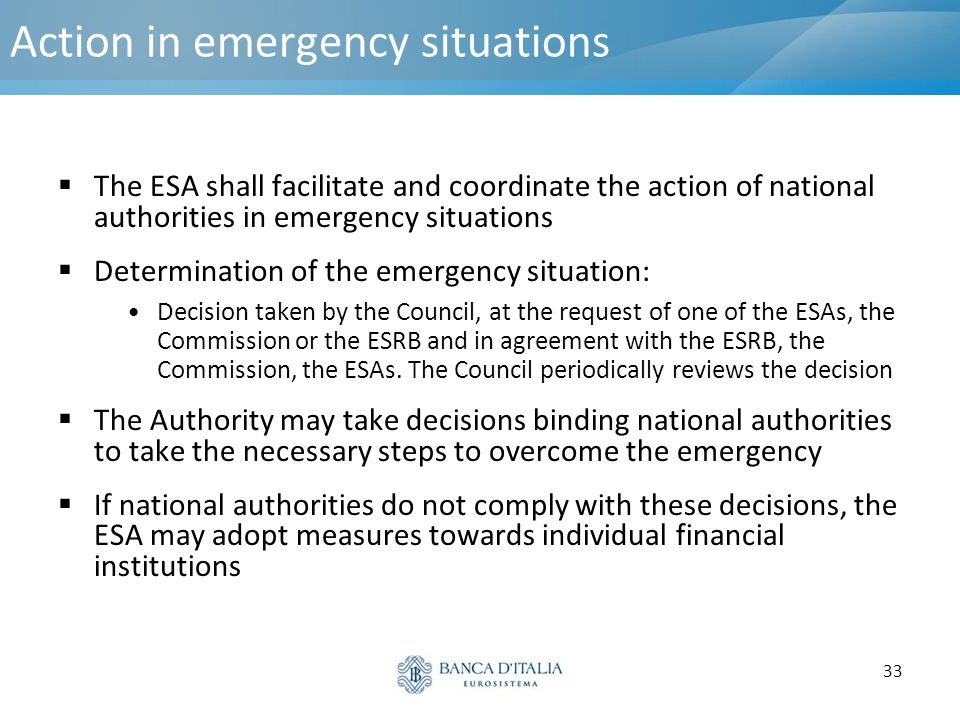 Action in emergency situations