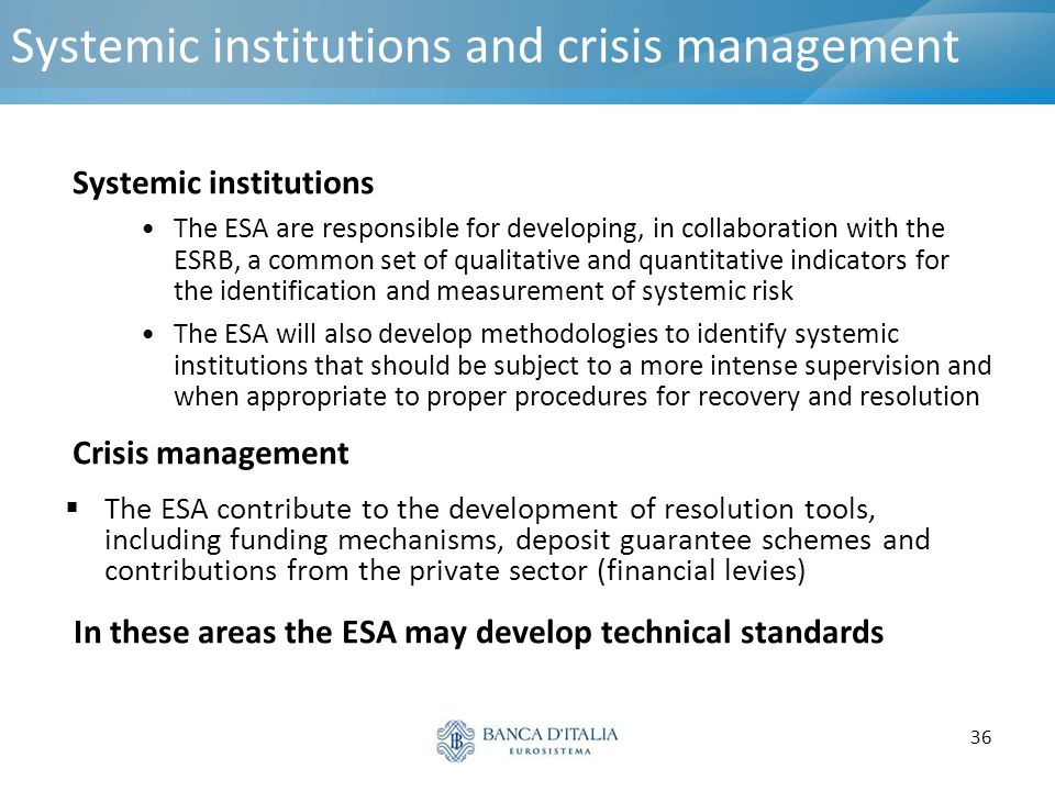Systemic institutions and crisis management