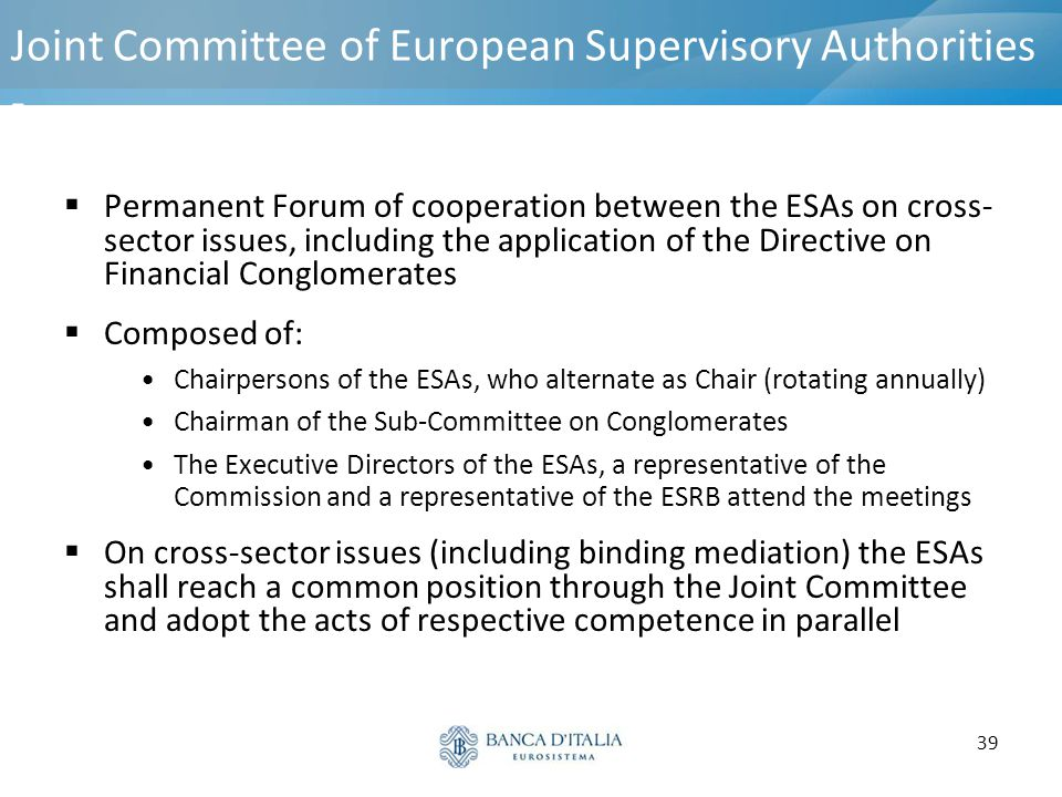 Joint Committee of European Supervisory Authorities -