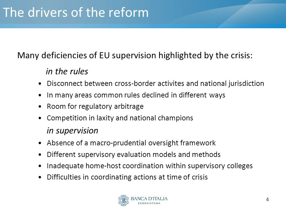 The drivers of the reform