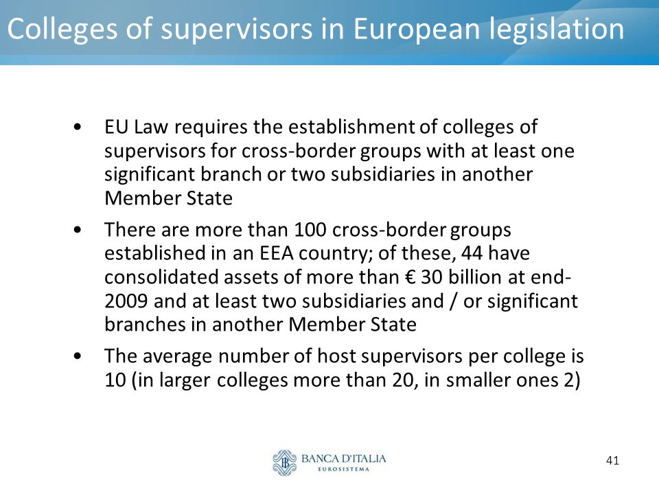 Colleges of supervisors in European legislation