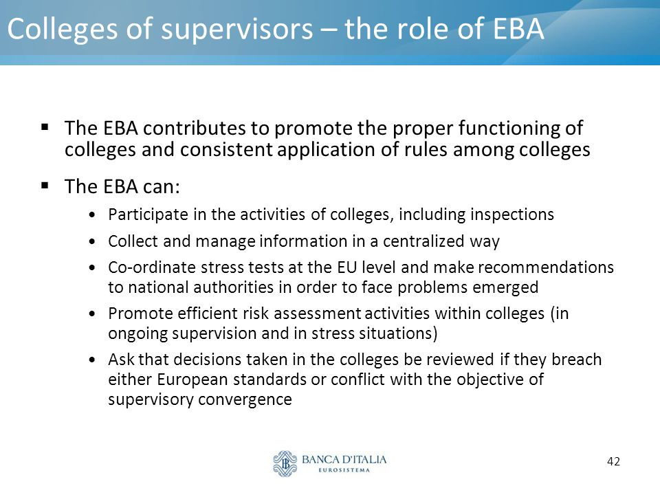 Colleges of supervisors – the role of EBA