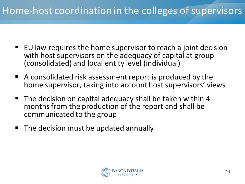 Home-host coordination in the colleges of supervisors