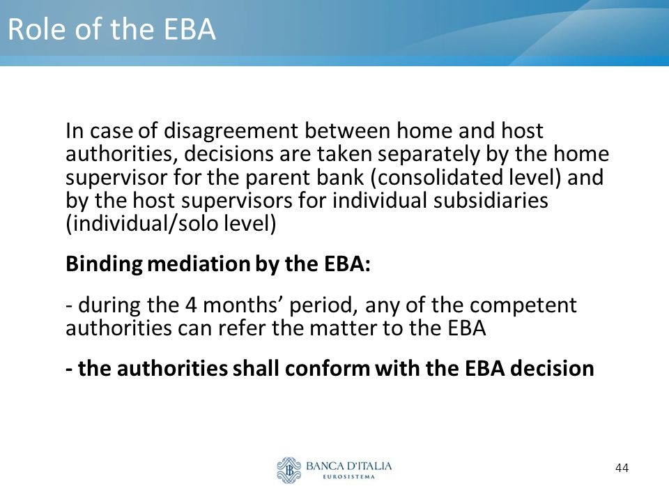 Role of the EBA Binding mediation by the EBA: