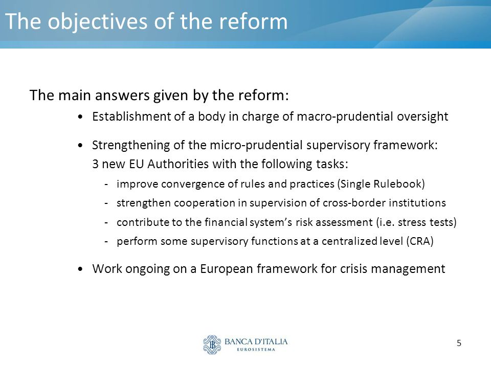 The objectives of the reform