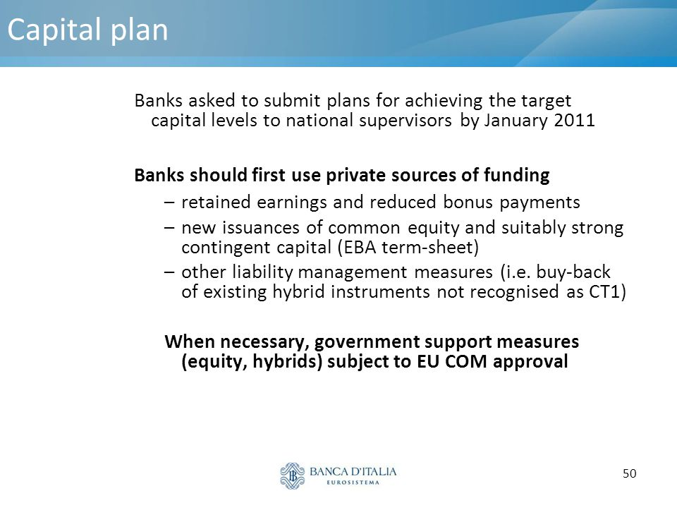 Capital plan Banks asked to submit plans for achieving the target capital levels to national supervisors by January 2011.