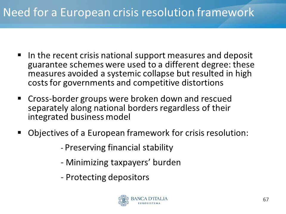 Need for a European crisis resolution framework