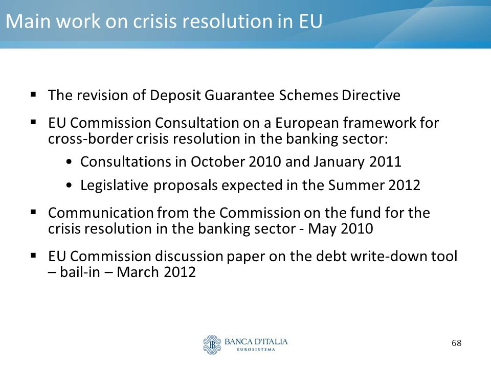 Main work on crisis resolution in EU