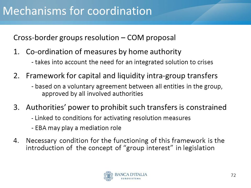 Mechanisms for coordination
