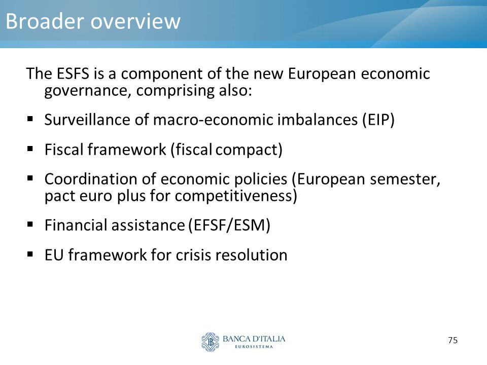 Broader overview The ESFS is a component of the new European economic governance, comprising also: Surveillance of macro-economic imbalances (EIP)